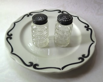 Restaurant Ware Plate Salt Pepper Black White 1950s Jackson China Vintage Ceramic Diner Retro Dining