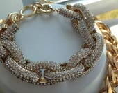 This listing is fo KKWGENE! Pave Link Bracelet - Gold Crystal Embedded Pave Link Bracelet- Pave link Jewelry