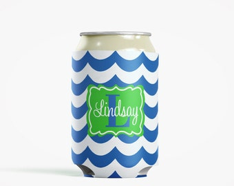 Personalized Can Insulator, DIY Custom Bottle Insulated Beverage Container, Royal Waves