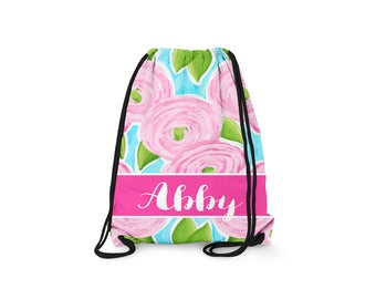 Personalized Drawstring Backpack - Roses - Personalized Kids Drawstring Bag