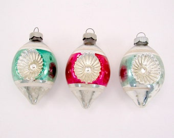 1950s Shiny Brite Indented Teardrop Christmas Ornaments Holiday Decorations Christmas Baubles