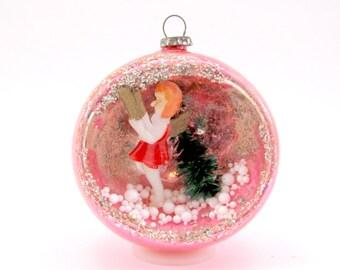 Vintage Glass Angel Diorama Christmas Ornament 1960s Pink Japan Chrismtas Decoration