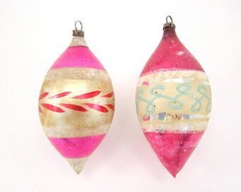Pink German Christmas Ornaments Vintage Glass Teardrop Christmas Decorations 1950s