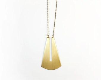 TARAH Necklace | Brass Pendant, Gold, Bronze | Long Layering Necklace | Brass Chain | Geometric Necklace | Unisex Jewelry Metalwork Cutout