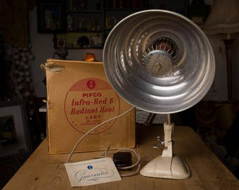 Pifco Lamp, heat lamp, convert to bulb, metro home, industrial home, desk lamp, table lamp, retrp, vintage, original tatty box, 1950s