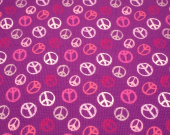 "1 Yard - 60"" Width Super stretchy knit fabric - Purple Pink Peace Sign"
