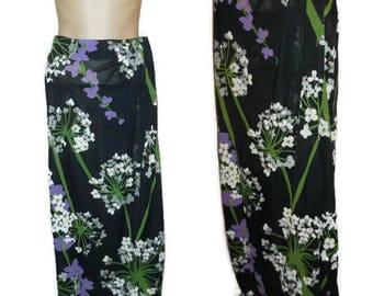 Vintage 1960s 70s Bathing Suit Skirt Cover Up Cole of California Black Purple Floral Sheer Nylon Swimsuit Cover Boho Festival Maxiskirt M L