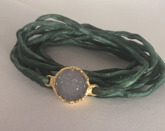 White Druzy Quartz Grey Wrap Bracelet
