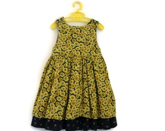 Girls Dress, Girls Vintage Dress, Girls Reversible Dress, Pinafore Dress, Girls Easter Dress