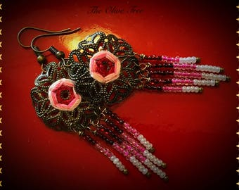 British Pink Rose Mandala  Bohemian Dangle Earrings - Boho Earrings - Zen Earrings - Hippie Earrings - Gypsy Earrings - Meditation