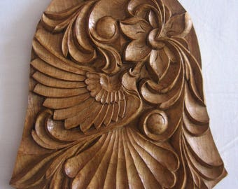 Bell of Love, Fretwork, Birds, Flowers, Hand-made, Woodcarving, Wood panel