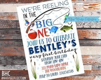 Fishing Birthday Invite. BIG ONE invitation. 1st birthday invite. Fishing party. Big one Party invite. Big one Birthday. the big one party.