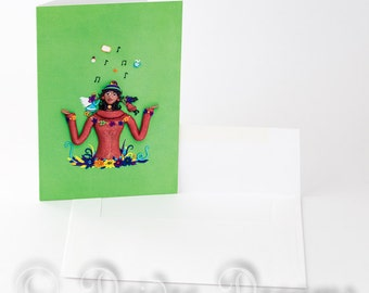 Angel and Devil on Your Shoulder Greeting Card, Angel Greetings Card, Demon Greeting Card, Funny Greeting Card, Birthday Card, Blank Note