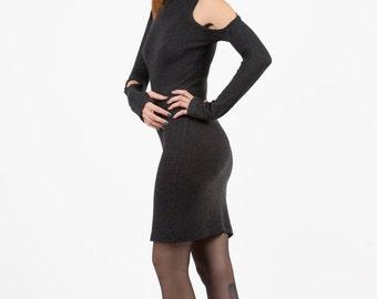 Backless Dress, Winter Dress, Open Sholders, Short Winter Dress, Dark Grey Dress