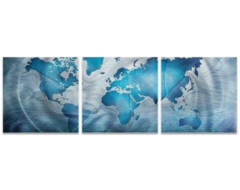World Map Art 'Land and Sea Triptych Large' by Amber LaRosa - Travel Wall Decor Educational Artwork on Metal or Acrylic