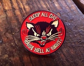 Sleep All Day Raise Hell at Night Pin - Enamel Pin - Cat Pin