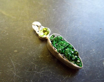 Pendant, sterling silver, Garnet, green, Uwarowit, Peridot, faceted, jewelry