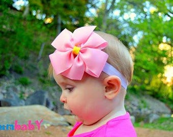 Pink Bow Headband - Newborn Bow Headband - Baby Pink Bow Headband - Baby Shower Gift