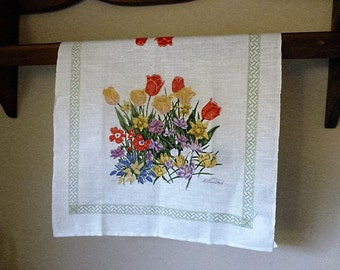 Mint Williamsburg Tea or Kitchen Towel With Floral Bouquets