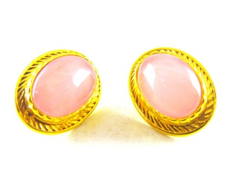 Earrings Rose Quartz Look Gold Plated Button Style Beauties Signed Butler FAC For Pierced Ears
