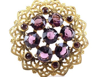 Vintage Brooch Large Amethyst Glass Gilt Brass Filigree Basket Mount Stamped Posies Exquisite Piece Bride Bridesmaid Gifts For Her