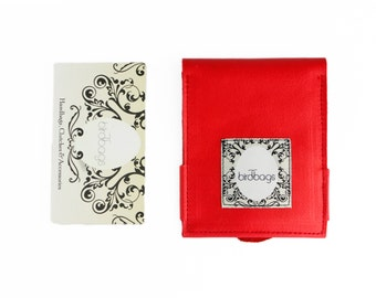 "Red Leather Wallet, Card Holder, Birdbags ""Beak"""