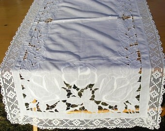 Vintage White Lace Table Runner, Long Rectangular Cotton Tablerunner, Intricate White Lace Table Decoration, White Table Linens