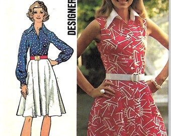 Simplicity 5619 Misses Designer Fashion Dress Pattern, Flared Skirt & Front Button Closing, Size 14, Bust 36, UNCUT