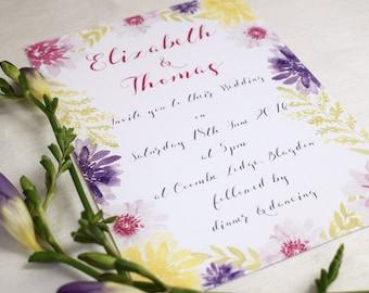 Bloom Floral Wedding Invitation, Day/Evening Wedding Invitation, Summer Wedding Invitation