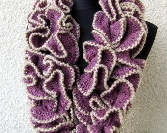 Crochet Scarf PATTERN-Ruffle Scarf-DIY Crafts-Unique Crochet Design Fashion Scarf-Instant Download PDF Pattern No.114 by Lyubava Crochet