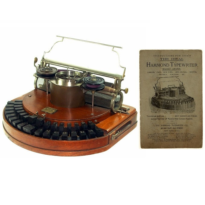 Hammond No 1 Typewriter Instruction Manual Ideal Keyboard