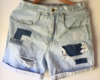 Vintage Distressed Patchwork Denim Shorts Highwaisted Mom Jeans Carabella Size 13/14 1990s 90s