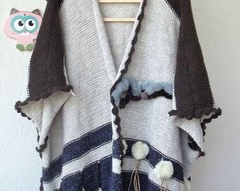 knit poncho boho poncho cape wrap,womens clothing,festival clothing XXXL-XXXXL US size 8 up to 26 with coin fringe ,pompom festival poncho