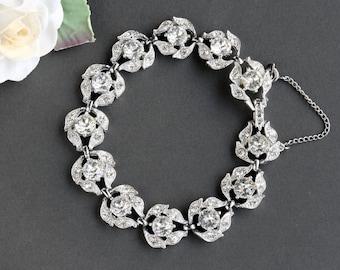 Vintage Bogoff Rhinestone Chain Bracelet
