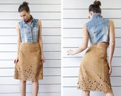 Vintage soft camel brown suede leather cut out hem high waist pencil midi skirt S