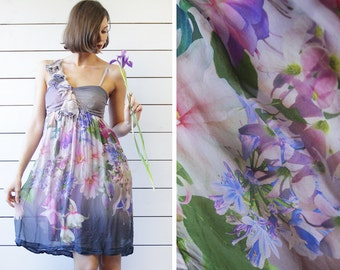 Vintage purple pink floral print pure silk asymmetric shoulder sleeveless ruffle knee length midi dress S