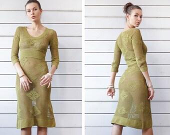 Vintage green semi sheer see through knit crochet lace long sleeve tunic midi dress S