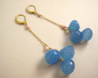 Long blue chalcedony drops statement earrings with fine pink corals, handmade, natural gemstone earrings, gold plated 925 sterling silver GF