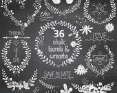 50% SALE Chalk Laurel Wreath Clipart, Chalk Wedding Laurels, Hand Drawn Chalkboard Leaf Branches and Flowers Clip Art -   Instant Download