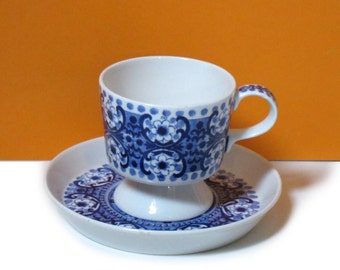 Arabia Ali cup and saucer set, blue floral print, Raija Uosikkinen, made in Finland