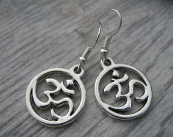 Sanskrit Om Earrings, Personalized Buddhist Earrings, Hindu Jewelry, Yoga Earrings, Aum Earrings, READY To SHIP, Namaste, Antiqued Silver