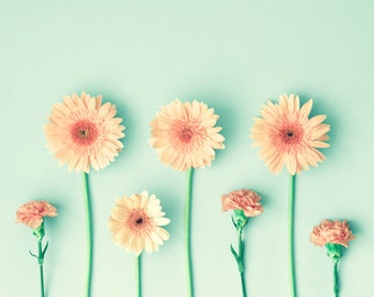Girl nursery decor girl, flower photography, coral wall art, mint wall art, flower print, wall art canvas art, large art, large wall art