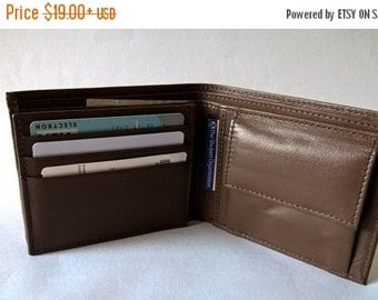 CHRISTMAS SALE Brown Leather wallet coin pocket, card flap , groomsmen gifts, wedding gifts, gift for him, christmas last minute presents, m