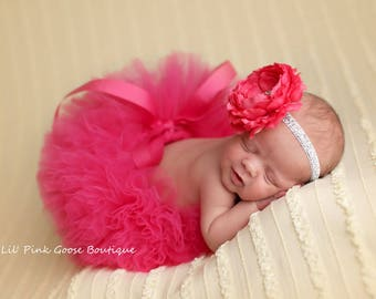 HOT PINK TUTU Set, Hot Pink Tutu and Headband, Newborn Tutu, Baby Tutu, Pink Tutu, Newborn Photo Prop, Photo Prop, Tutus for Children