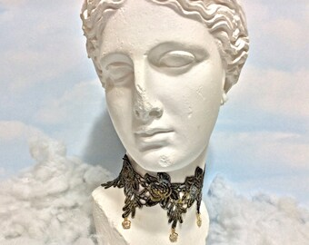 black Gold flower lace choker gold lace necklace steampunk necklace Victorian lace neckpiece lace choker goth choker Victorian lace choker
