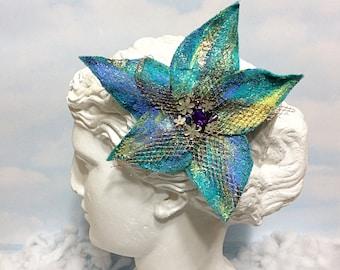 Blue Felt Flower hair Clip, women's felt clip, felt flower, hairpiece, blue hair clip, rhinestone hair clip, turquoise flower, flower hair