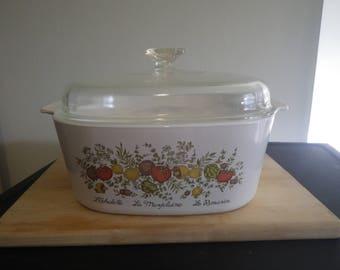 HUGE 5 Quart Corning Ware Casserole Dish Spice of Life Pattern Pyrex Vintage