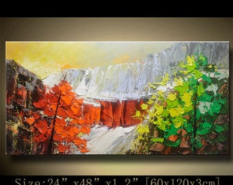 contemporary wall art, Palette Knife Painting,colorful tree painting,wall decor  Home Decor,Acrylic Textured Painting ON Canvas by Chen 1022