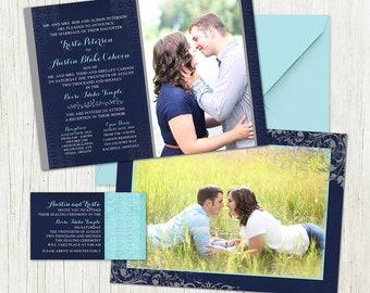Pretty Photo Wedding Invitation - Custom Wedding Invitation Set - blue and turquoise, classic design with engagement photos, LDS wedding