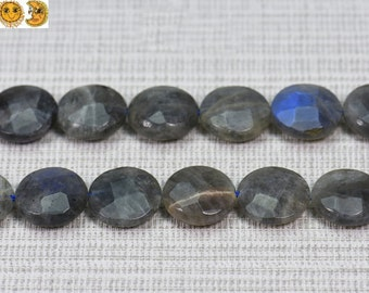Sale---15 inch strand of Natural Black labradorite faceted coin beads 14mm,16mm